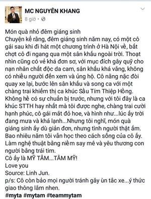 MC Nguyên Khang nói về Mỹ Tâm